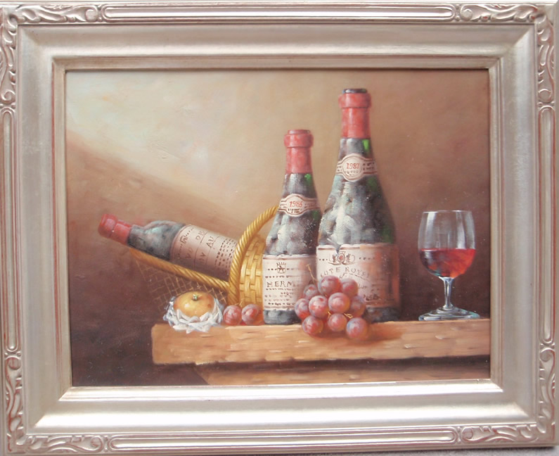 Grapes and                         wine bottles