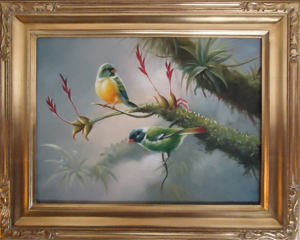 Pair of Green and Gold Birds